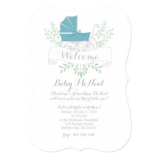 vintage pram BABY SHOWER blue invitation
