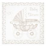 VINTAGE PRAM BABY SHOWER INVITATION SEPIA/WHITE