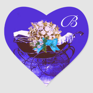 VINTAGE PRAM, FLOWERS BABY SHOWER HEART MONOGRAM HEART STICKER