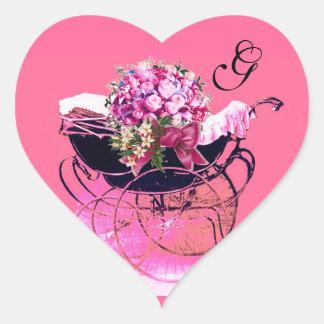 VINTAGE PRAM , FLOWERS BABY SHOWER HEART MONOGRAM HEART STICKER