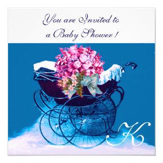 VINTAGE PRAM FLOWERS BLUE BABY BOY SHOWER MONOGRAM CARD
