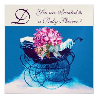 VINTAGE PRAM FLOWERS BLUE BABY SHOWER MONOGRAM PERSONALIZED INVITATIONS