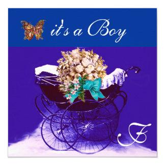 VINTAGE PRAM,FLOWERS,BUTTERFLIES BABY BOY SHOWER CARD