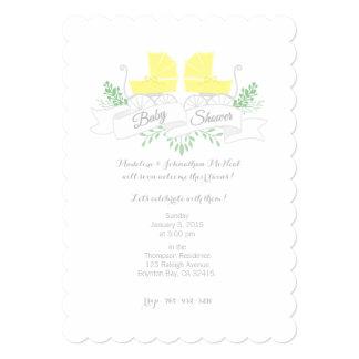 vintage pram TWIN BABY SHOWER invitation