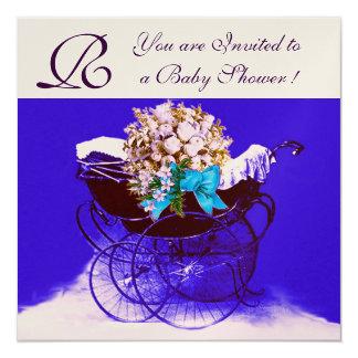 VINTAGE PRAM WITH FLOWERS BABY SHOWER MONOGRAM CARD