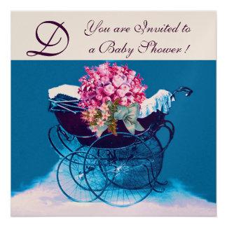 VINTAGE PRAM WITH FLOWERS BABY SHOWER MONOGRAM INVITES