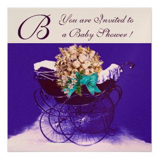 VINTAGE PRAM WITH FLOWERS BABY SHOWER MONOGRAM CUSTOM ANNOUNCEMENT