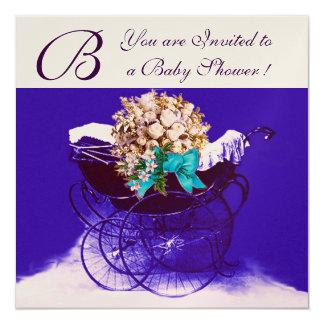 VINTAGE PRAM WITH FLOWERS BABY SHOWER MONOGRAM 5.25X5.25 SQUARE PAPER INVITATION CARD