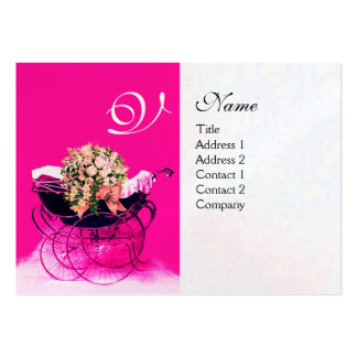 VINTAGE PRAM WITH FLOWERS  BABY SHOWER,pearl paper Large Business Cards (Pack Of 100)