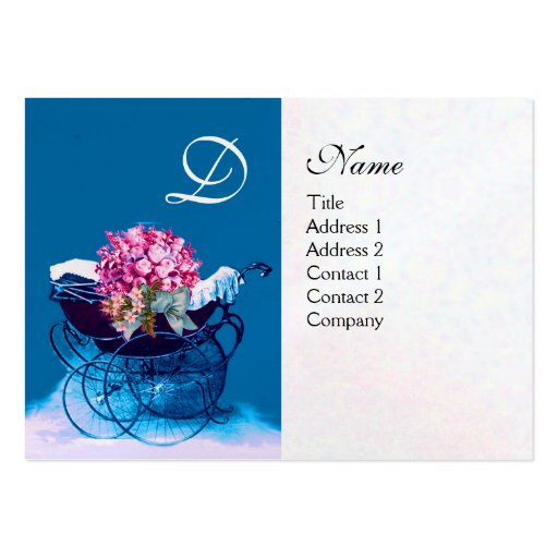 VINTAGE PRAM WITH FLOWERS  BABY SHOWER,pearl paper Large Business Card