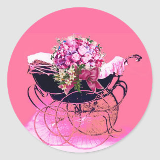 VINTAGE PRAM WITH FLOWERS BABY SHOWER CLASSIC ROUND STICKER