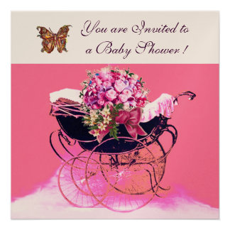 VINTAGE PRAM WITH FLOWERS,BUTTERFLIES BABY SHOWER ANNOUNCEMENTS