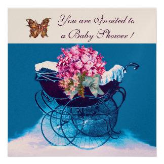 VINTAGE PRAM WITH FLOWERS,BUTTERFLIES BABY SHOWER CUSTOM ANNOUNCEMENT
