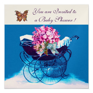 VINTAGE PRAM WITH FLOWERS,BUTTERFLIES BABY SHOWER 5.25X5.25 SQUARE PAPER INVITATION CARD