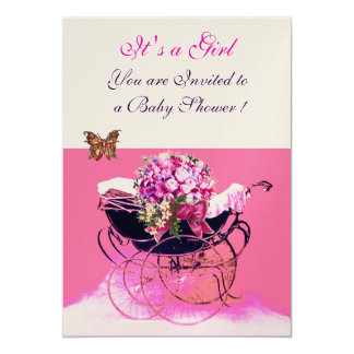 VINTAGE PRAM WITH FLOWERS,BUTTERFLIES BABY SHOWER 5X7 PAPER INVITATION CARD