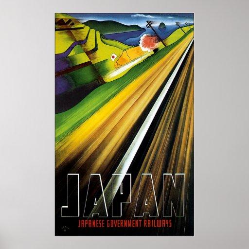 Vintage Pre-war Japan Rail Travel Poster