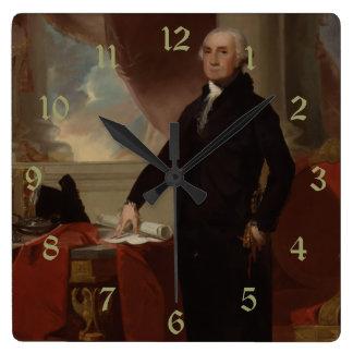 Vintage President portrait of George Washington Square Wall Clocks