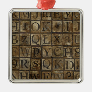 Vintage Press Letters Grungy Metal Ornament