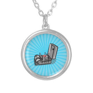 Vintage Pressure Camp Stove Silver Plated Necklace
