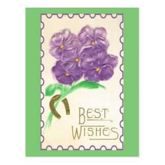 Vintage Pretty Best Wishes Pansies Good Luck Postcard