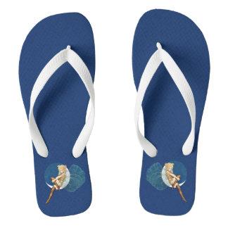 Vintage Pretty Blue Fairy Stockings Blue Moon Flip Flops