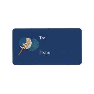 Vintage Pretty Blue Fairy Stockings Blue Moon Custom Address Label