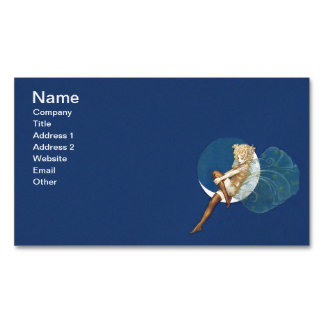 Vintage Pretty Blue Fairy Stockings Blue Moon Magnetic Business Card
