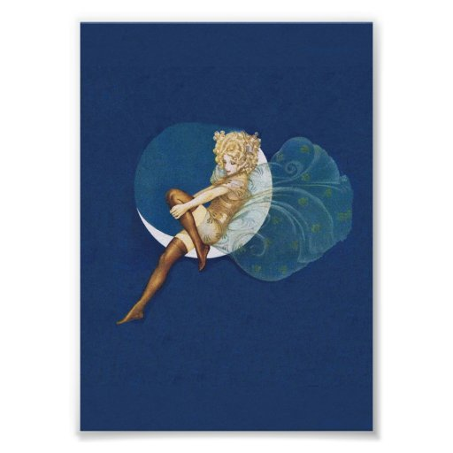 Vintage Pretty Blue Fairy Stockings Blue Moon Poster