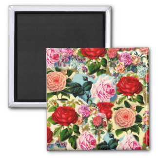 Vintage Pretty Chic Floral Rose Garden Collage 2 Inch Square Magnet