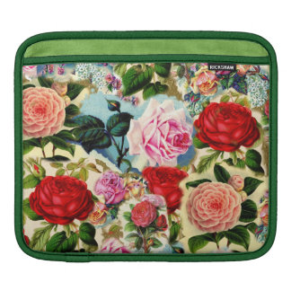 Vintage Pretty Chic Floral Rose Garden Collage iPad Sleeve