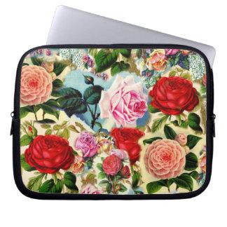 Vintage Pretty Chic Floral Rose Garden Collage Laptop Computer Sleeve