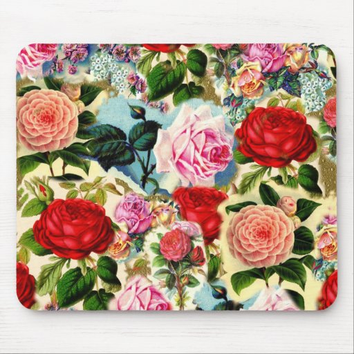 Vintage Pretty Chic Floral Rose Garden Collage Mouse Pad