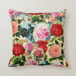 Vintage Pretty Chic Floral Rose Garden Collage Throw Pillows