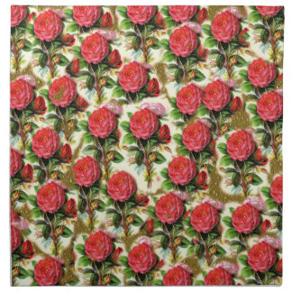 Vintage Pretty Chic Red Rose Wallpaper Collage Napkin