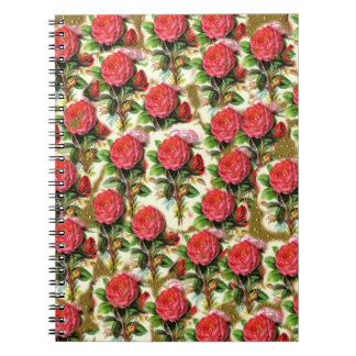 Vintage Pretty Chic Red Rose Wallpaper Collage Notebook