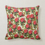 Vintage Pretty Chic Red Rose Wallpaper Collage Pillow