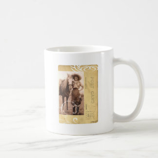Vintage Pretty Cowgirl Photograph Horse Postcard Coffee Mug