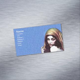 Vintage Pretty Dark Hair Lady Golden Veil Magnetic Business Card