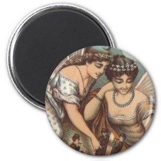 Vintage Pretty Fairies Light Cigars Little Men Art Refrigerator Magnet
