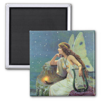 Vintage Pretty Fairy Fae Harp Candle Ocean 2 Inch Square Magnet
