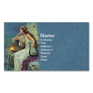 Vintage Pretty Fairy Fae Harp Candle Ocean Business Card Magnet