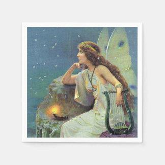 Vintage Pretty Fairy Fae Harp Candle Ocean Paper Napkin