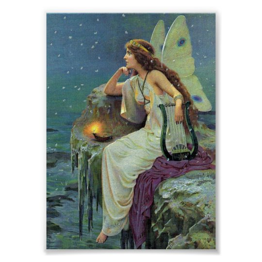 Vintage Pretty Fairy Fae Harp Candle Ocean Poster | Zazzle com