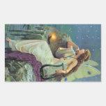 Vintage Pretty Fairy Fae Harp Candle Ocean Rectangular Sticker