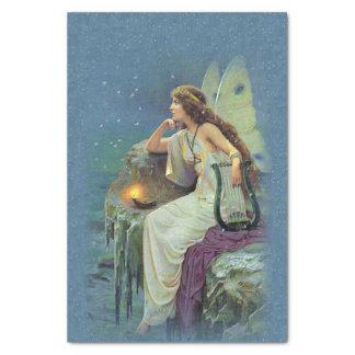 Vintage Pretty Fairy Fae Harp Candle Ocean Tissue Paper