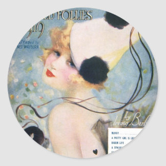 Vintage Pretty Girl is Like a Melody Classic Round Sticker