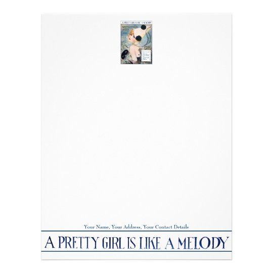 Vintage Pretty Girl is Like a Melody Letterhead