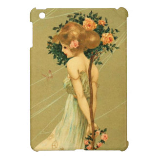 Vintage Pretty Girl With Pink Roses and Butterfly iPad Mini Covers