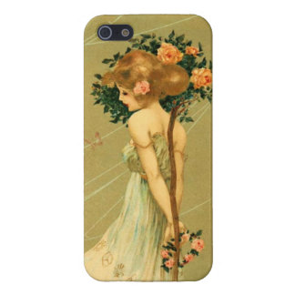 Vintage Pretty Girl With Pink Roses and Butterfly Cover For iPhone 5