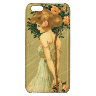Vintage Pretty Girl With Pink Roses and Butterfly iPhone 5C Case